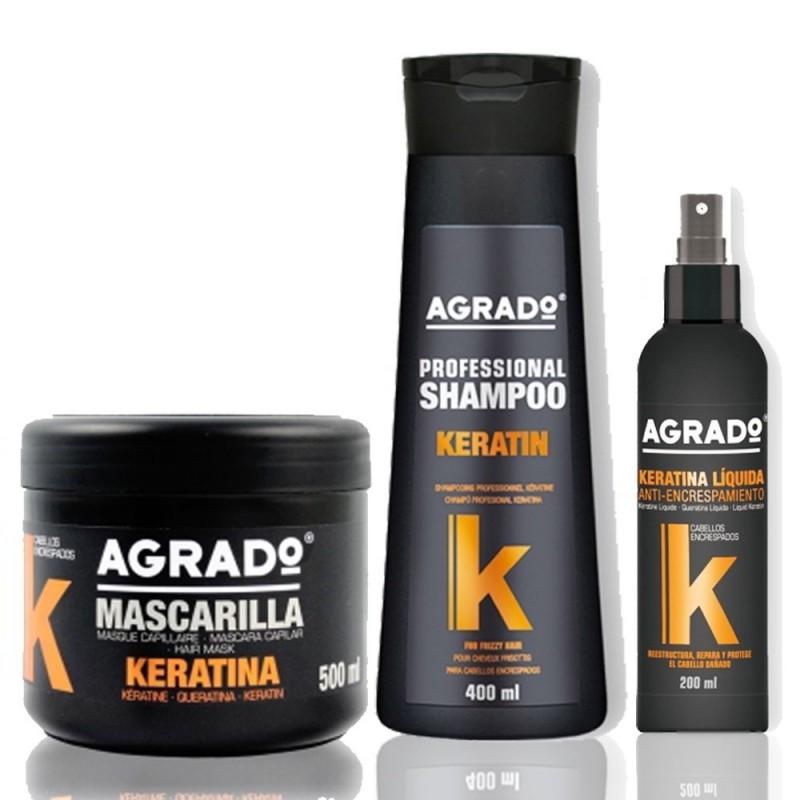 پک صاف کننده مو آگرادو Agrado مدل کراتین درمانی بسته 3 عددی