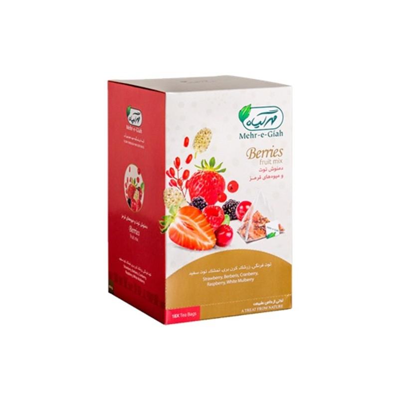 دمنوش کیسه ای توت و میوه های قرمز مهرگیاه جعبه 18 عددی