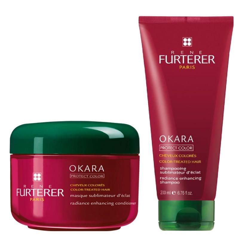 پک شامپو و ماسک موهای رنگ شده رنه فورترر Rene Furterer مدل اوکارا پروتکت کالر بسته دوعددی