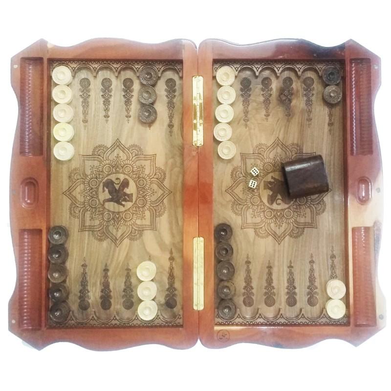 صفحه شطرنج و تخته نرد چوب گردو استاد جمالی مدل ملوکانه