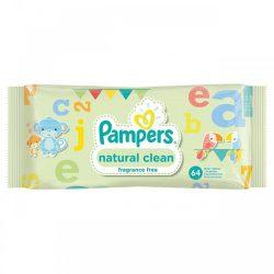 دستمال مرطوب کودک پمپرز مدل Natural Clean بسته 64 عددی